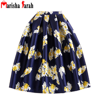 2016 Summer Autumn Audrey Hepburn Vintage Retro Skirts Fantasy Floral Print High Waist Pleated Midi Large
