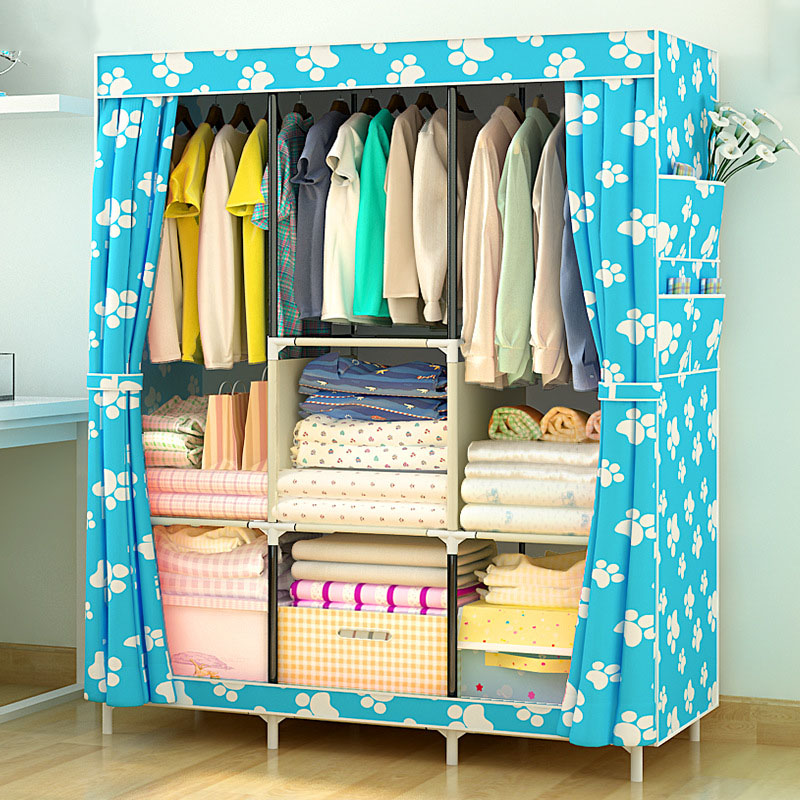 Simple Wardrobe Non-woven Steel pipe frame reinforcement Standing Storage Organizer Detachable Clothing Closet Bedroom furniture students in bed wardrobe non woven steel frame reinforcement standing storage organizer detachable clothing closet furniture