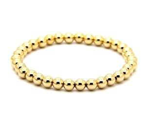 Image 2 - Ailatu 10 pièces/lot 6mm Rose et couleur or plaqué perles de cuivre rondes hommes femme cadeau danniversaire Bracelet extensible bijoux