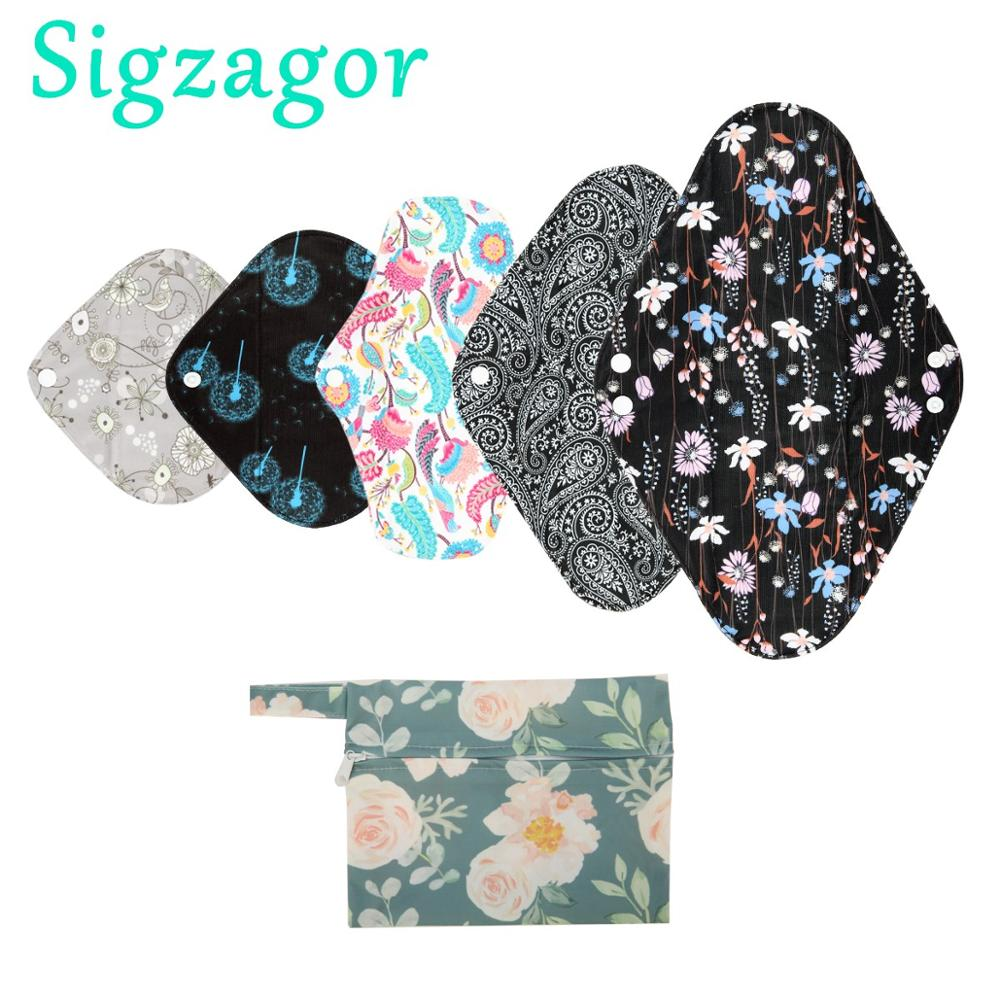 Xl-Cloth Panty-Liner Menstrual-Pad Bamboo-Charcoal Sigzagor Overnight Washable Sanitary