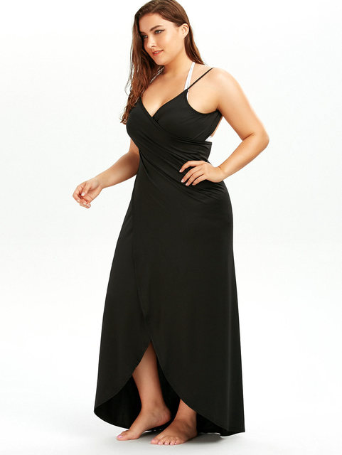 Summer Sexy Plus Size 5XL Beach Wrap Cover Dress Long Split Backless V Neck  Maxi Casual Beach 548f59a0dc29