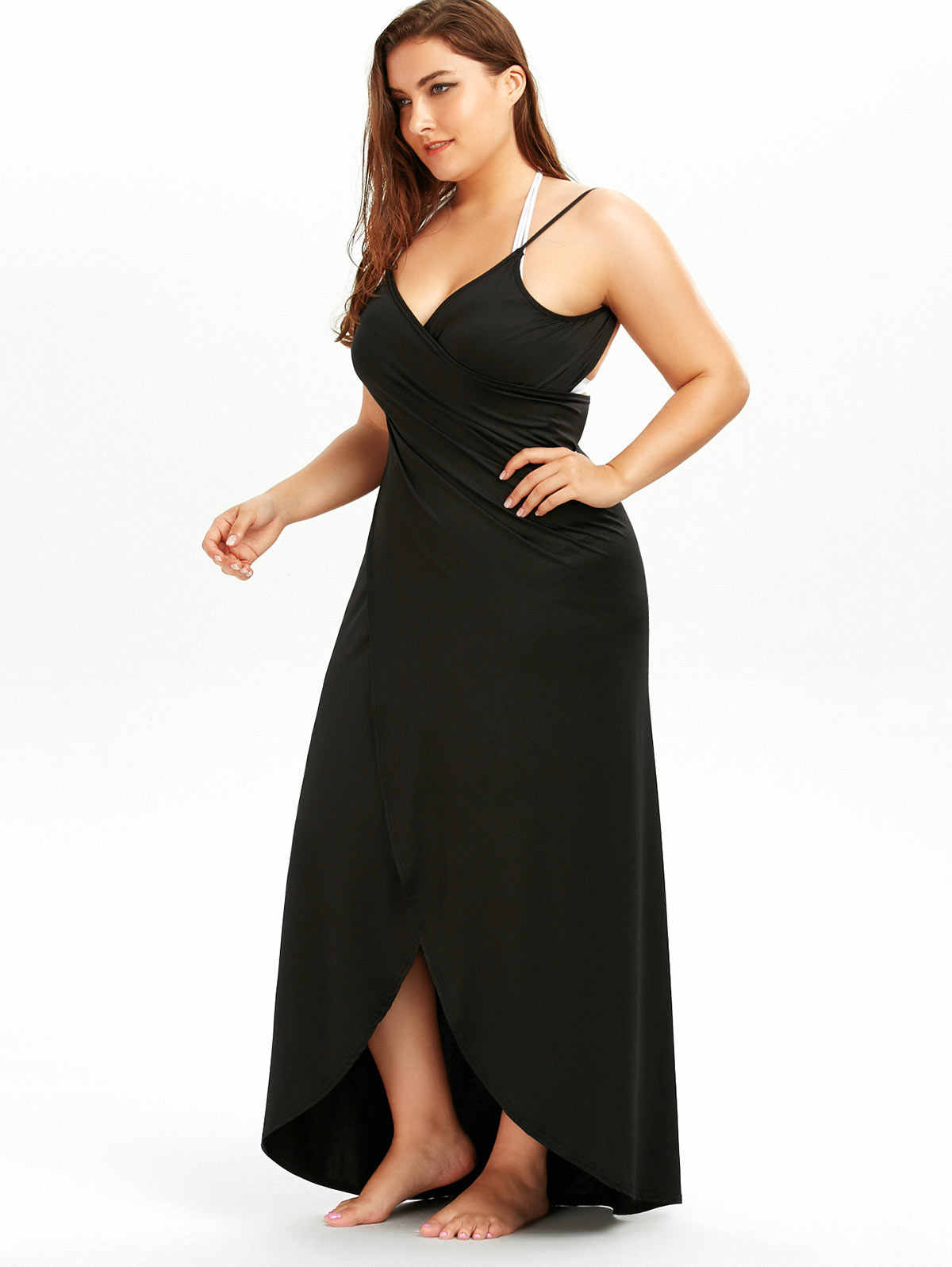 7343b9db12147 ... Wipalo 2018 Summer Sexy Plus Size 5XL Beach Wrap Cover Dress Long Split  Backless V Neck ...