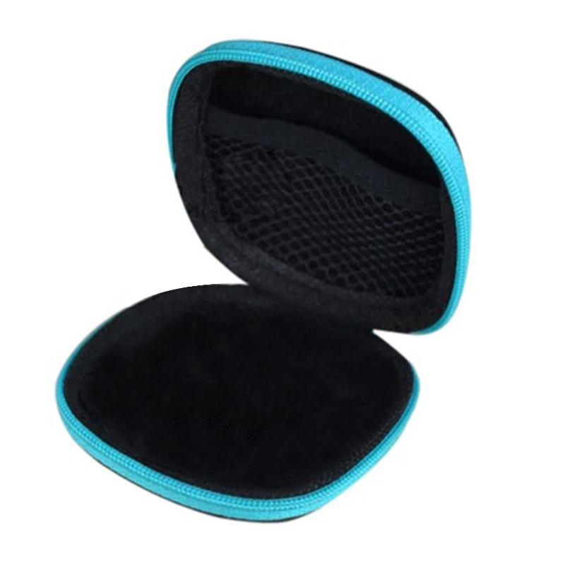 Wireless Bluetooth Earphone Case EVA Cases For Mobile Phone Wired Earphone MP3/4 Earpiece Portable Cover Bag Travel Box Blue
