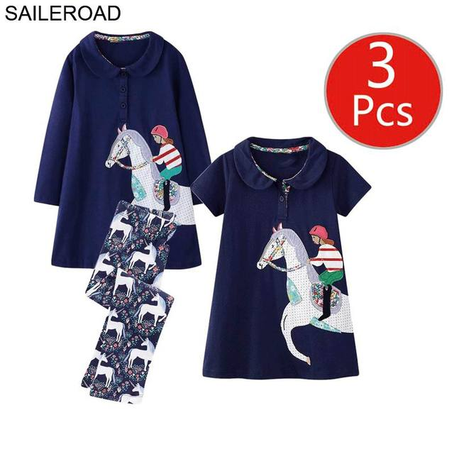 SAILEROAD 3pcs Girls Dress Leggings Sets for Toddler Girls Summer Autumn Clothing Unicorn Children Dresses Clothes for Girls