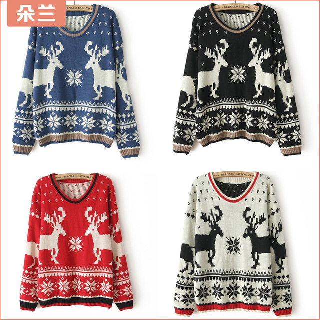 free shipping sweaters 2014 women fashionwinter cute christmas sweaters for women thermal plus size female sweater