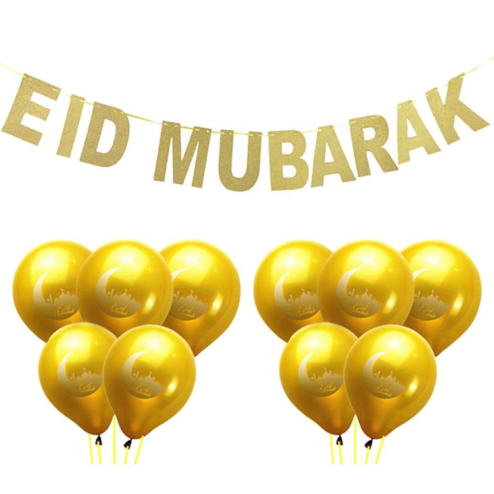11 unids EID MUBARAK Globos Oro Glitter Banner Musulmán Ramadan - Para fiestas y celebraciones