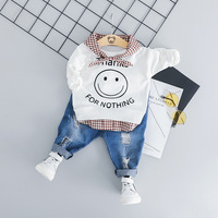 Korean Cartoon Smiling Face T shirt+Ripped Jeans 2pcs Baby Boy Set 0 3T Toddler Cotton Casual Baby Suit For Boys Infant Clothing