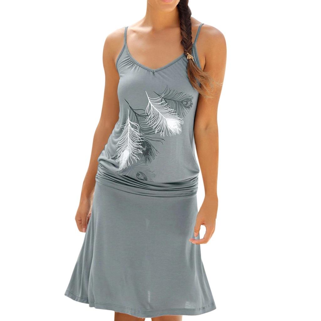 543420e7744 2019 новые модные женские туфли Повседневное с принтом перьев Макси без  рукавов вечерние коктейльные пляжное платье