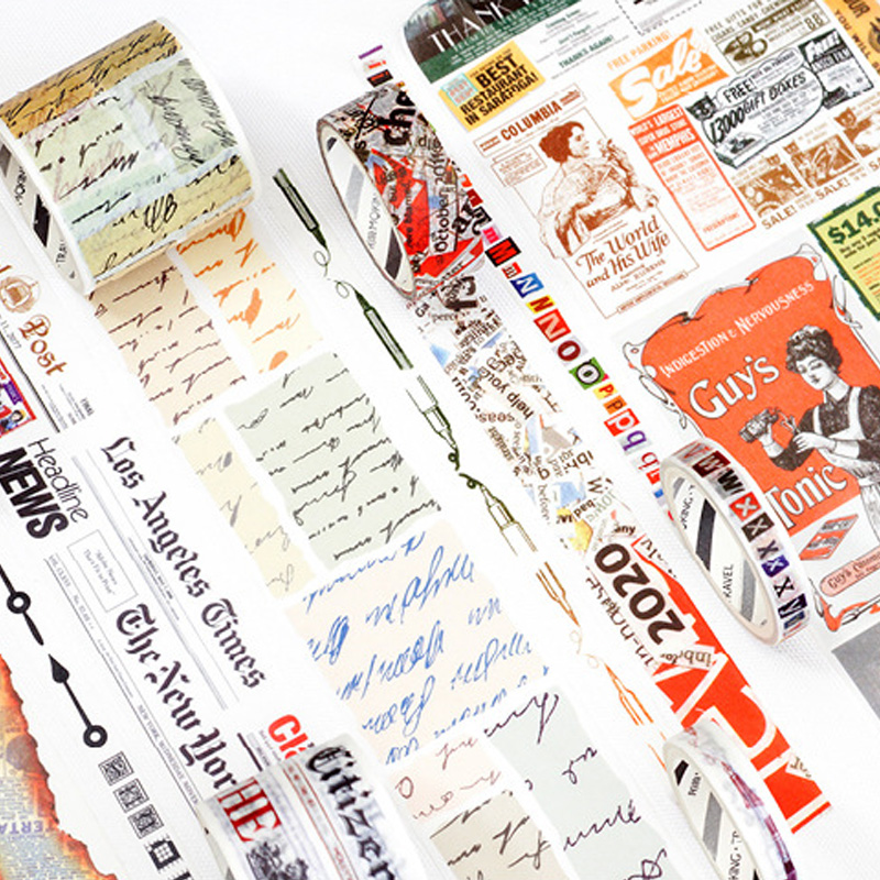 Vintage Books Newspaper Washi Tape DIY Decor Planners Scrapbooking Sticker Making Paper Decoration Tape Adhesive School Supplies