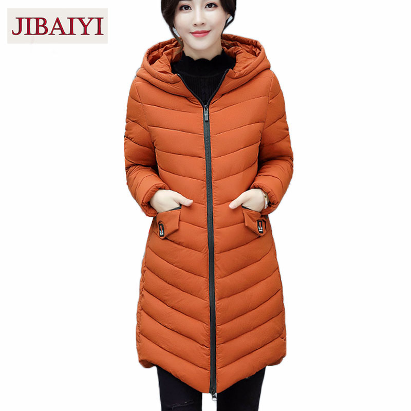 Warm down jacket winter coat 2017 new padded cotton coat hooded woman outerwear thick parka straight coat femme hot sale orange new men winter jacket fashion brand clothing cotton padded down parka male thick warm comfortable outerwear coat hood detachable