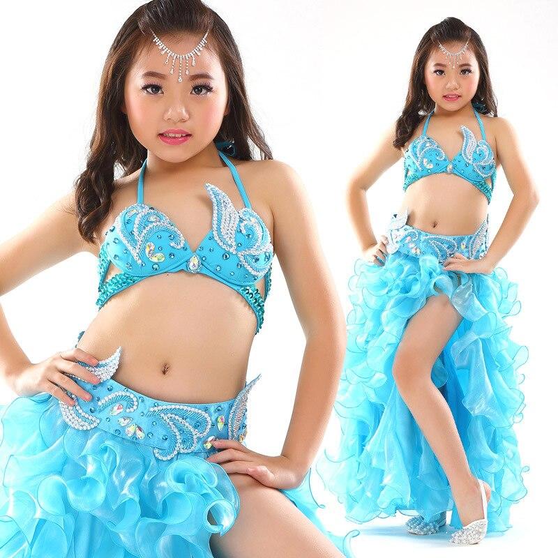Дети сценическое живота Одежда для танцев 3-шт Oriental наряд бюстгальтер, пояс, юбка Обувь для девочек танец живота костюм комплект для детей
