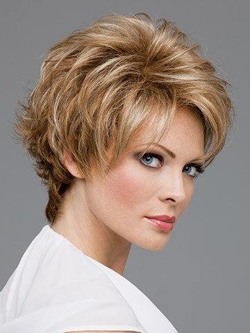 Donna marrone e biondo cenere mix parrucca capelli corti ...