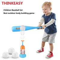ThinkEasy Children Outdoor / indoor Sport Baseball Game Toy Set Auto Throw Ball via Trigger ABS Kid Sport Toys