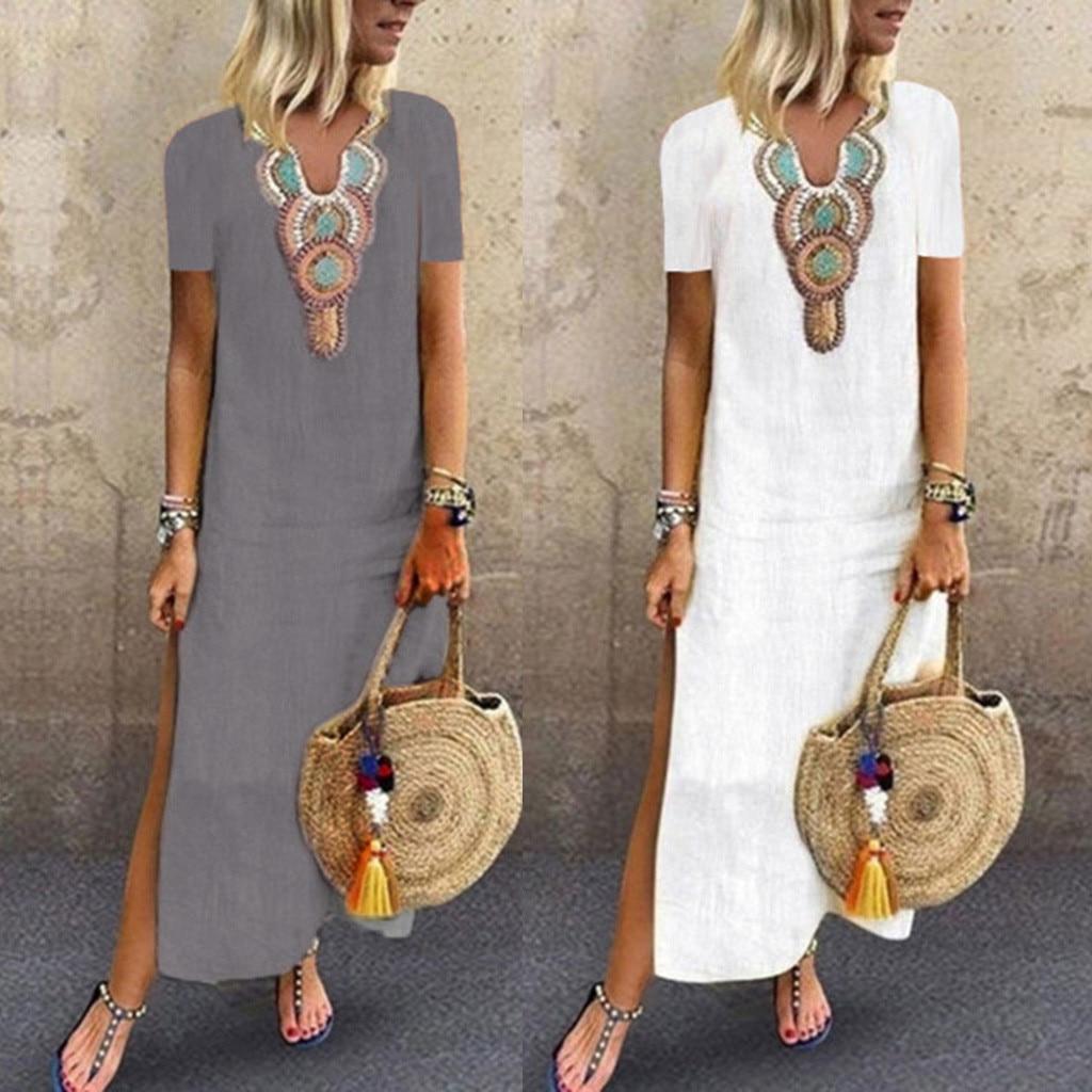 Women Dress 2019 Summer FashionWomen Print V-neck Side Slit Bohemian Dresses Shift Boho Maxi Dress Beach Dress #39