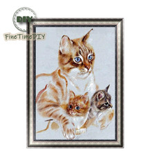 FineTime Cute Cats Family 5D DIY Diamond Painting Partial Round Drill Diamond Embroidery Animal Cross Stitch finetime cute deer 5d diy diamond painting partial round drill diamond embroidery animal cross stitch