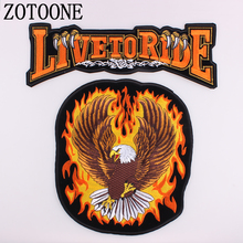 LIVE TO RIDE Large Back Iron On Patches For Clothing DIY Biker Punk Patch Sew On Jacket Embroidered Rock Sewing Accessories H diy punk rock bike patch large embroidery biker patch motorcycle iron on patches for clothes jeans vest jacket back patch h