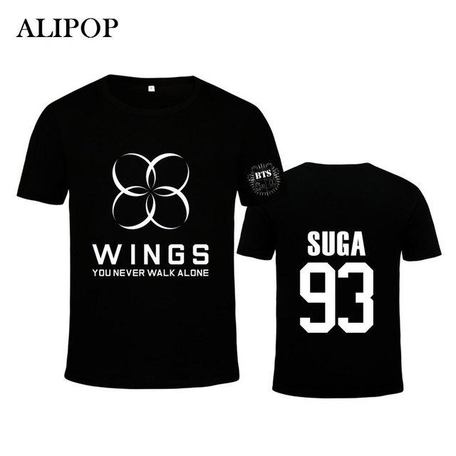 ALIPOP Kpop BTS Bangtan Meninos ASAS Da Moda Coreana SUGA Jung Kook Jimin V Jin Álbum K-POP T Shirts T-shirt PT371 Algodão Tshirt