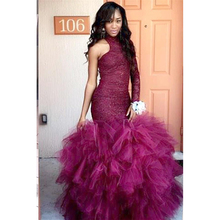 Mermaid Prom Dresses Long Sleeve Floor Length Evening Dress