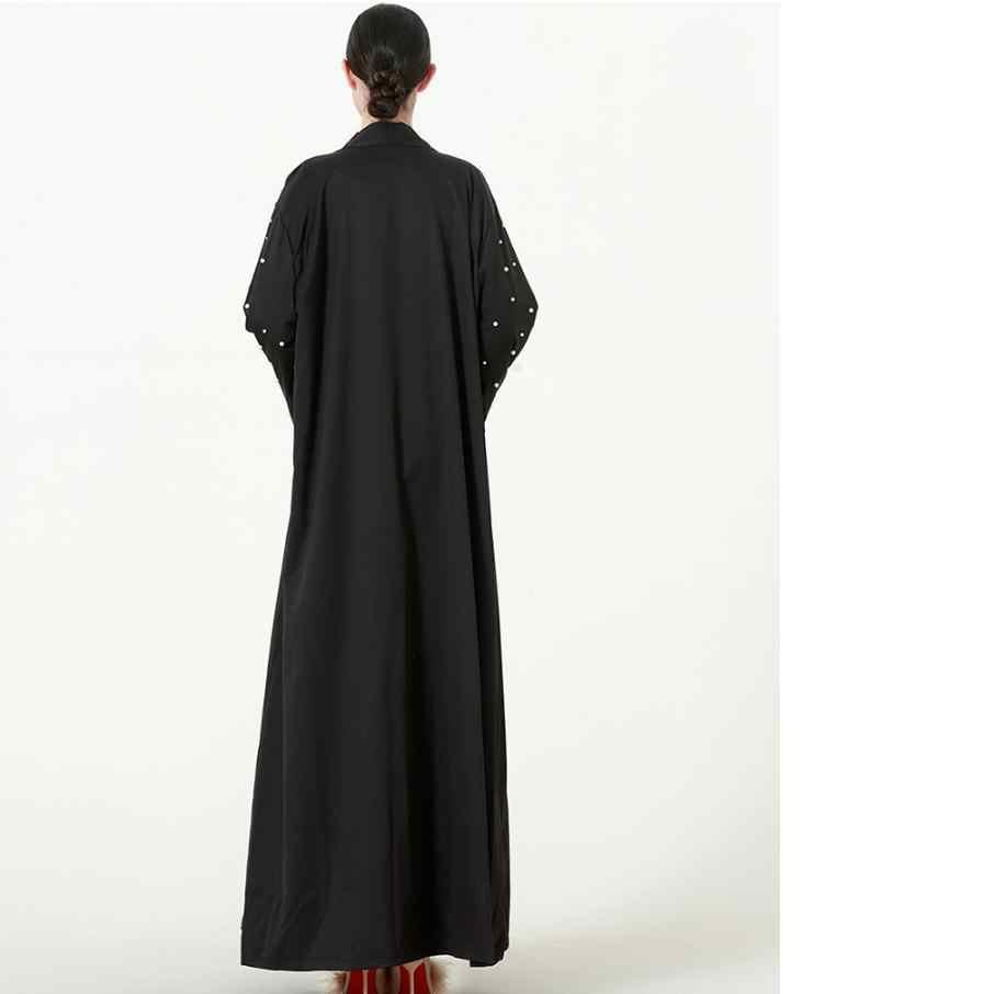 S-5XL プラスサイズオープンアバヤ musulmane ドバイファッションイスラム教徒ドレスダイヤモンドビーズローブアラブ礼拝 Wj1575 とベルト