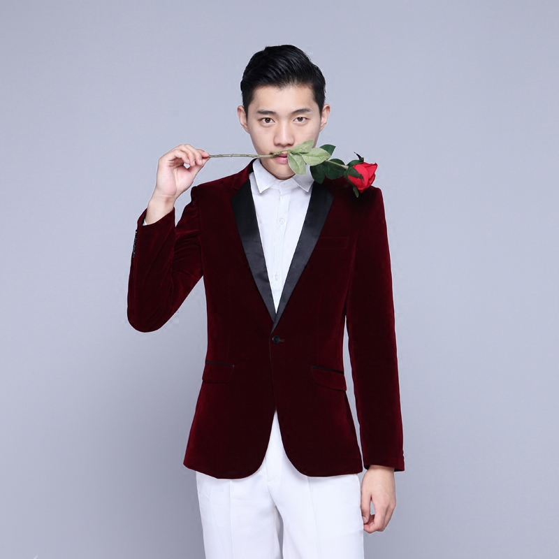 Chorus Performance Men 's Dress Moderator Costume Studio suit Slim stage Suit Men Long-Sleeved Men's Suits Dress Hosted