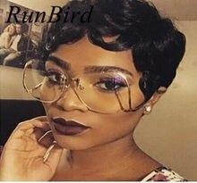 4443945ae4 Runbird nuevo oversized rimless ronda Gafas de sol mujeres moda óptica grandes  metal Marcos Sol Gafas elegante femenina miopía U..