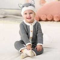 Infant Romper Kids Jumpsuit Winter Newborn Baby Boys Girls Warm Romper Knitted Sweater Children Clothes Outwear