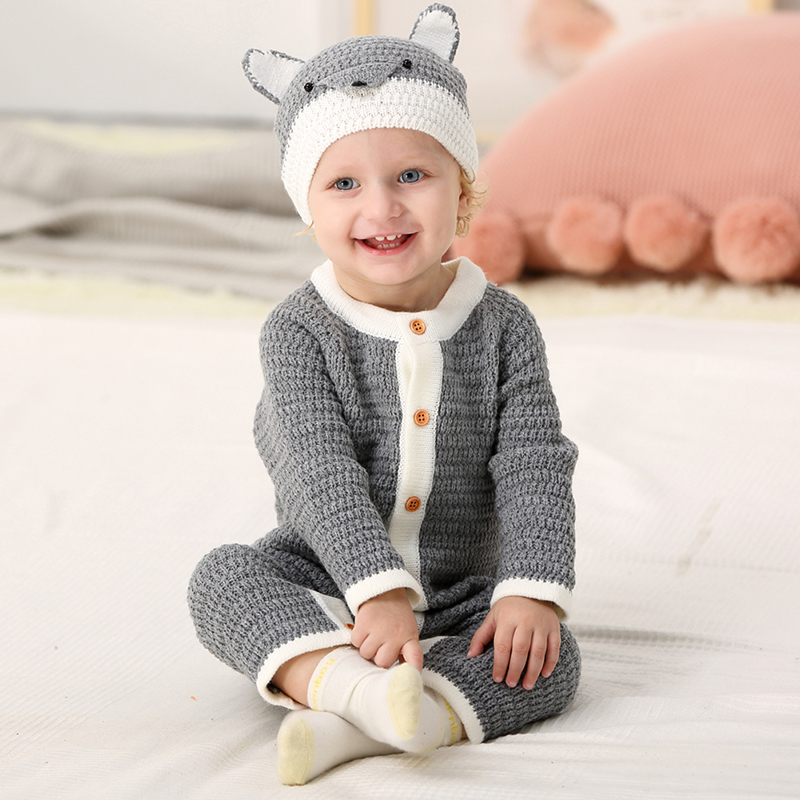 Infant Romper Kids Jumpsuit Winter Newborn Baby Boys Girls Warm Romper Knitted Sweater Children Clothes Outwear Animals Fox Hat autumn winter baby hats new fashion children warm ball hat double color boys and girls cotton caps beanies baby knitted hat
