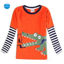 JUXINSU Boys Cotton Long Sleeve T-shirt Crocodile Embroidery Cartoon Striped Sleeve Autumn Winter Casual children's wear 1-6 Y
