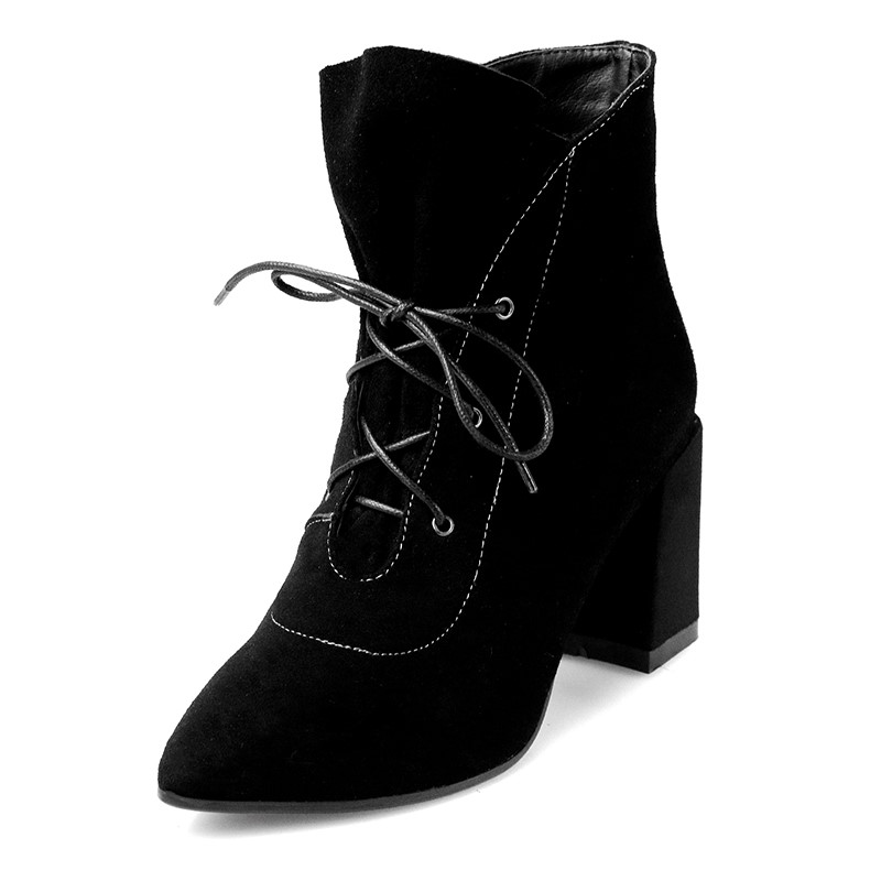 ФОТО Comfortable ankle boots  zapatos mujer heel height 8cm Pointed Toe Full Grain Leather Nubuck Leather woman casual shoes