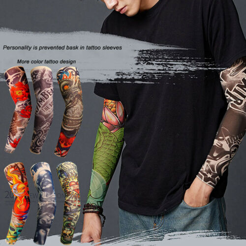 2019 Men Tattoo Cooling Arm Sleeves Warmers 3D Skull Cover Basketball Golf Sport UV Sun Protection New