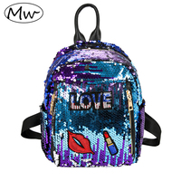 Moon Wood Small PU Leather Sequins Backpack Women Reflective Laser Lipstick Labeling Backpack Girls Bling School