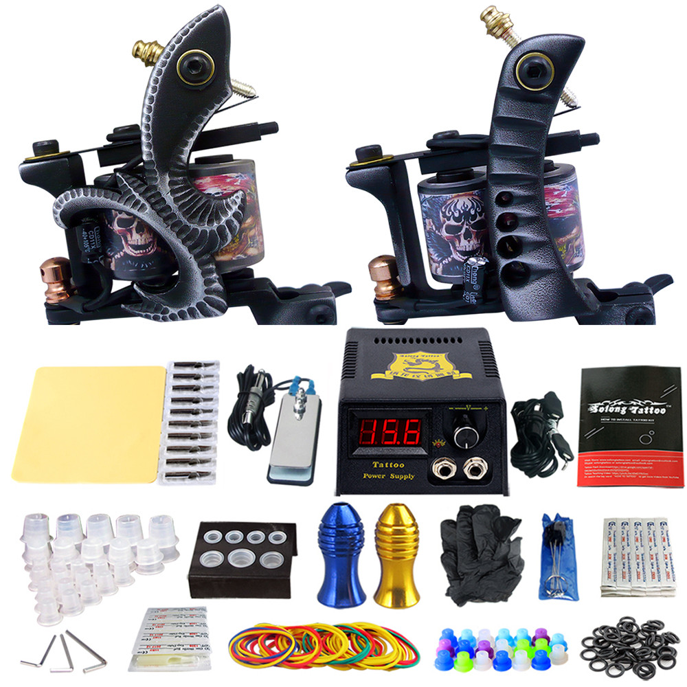 Complete Tattoo Machine Kit Set 2 Coils Guns Sets Grips Body Arts Supplies Needles Tips Tattoo Beginner Kits TK202-25 usa dispatch complete beginner tattoo kit 3 machines guns lcd power needles tips grips set equipment supplies