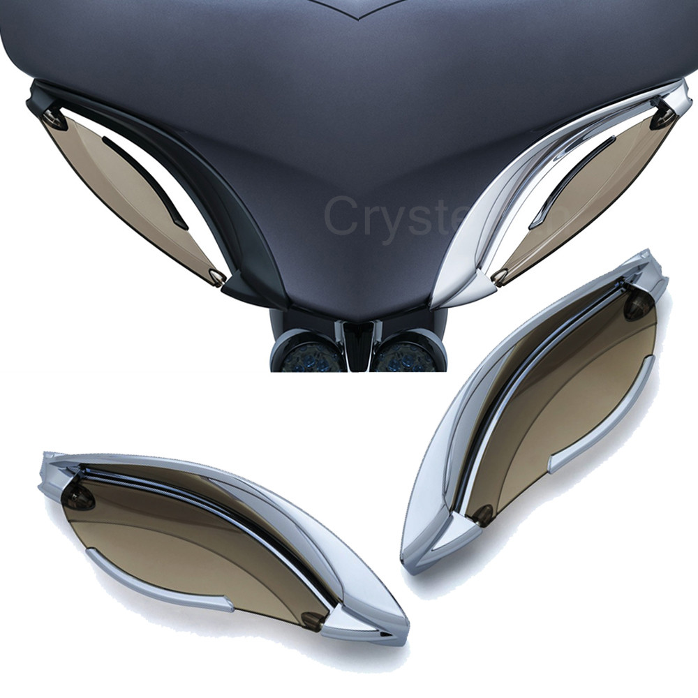 For 2014-2017 14 15 16 17 Harley Touring Models with Batwing Fairings Chrome Tinted Adjustable Batwing Fairing Air Deflectors
