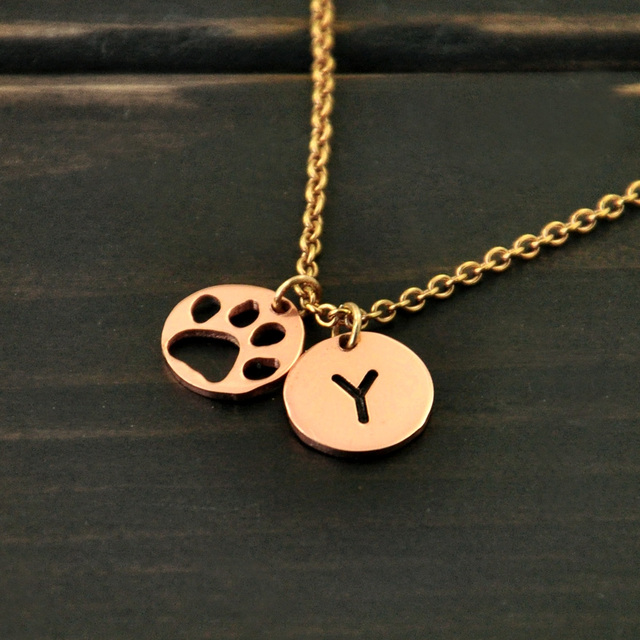 Personalized Dog Paw Mark Print NecklaceCustom Letter Bar Pendant