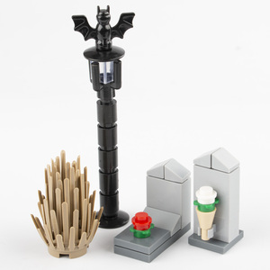 Image 2 - MOC Building Blocks Street Light Graveyard Accessory City Parts Bricks Cemetery Animal Snake Bat Grass Rose Plant Halloween D033