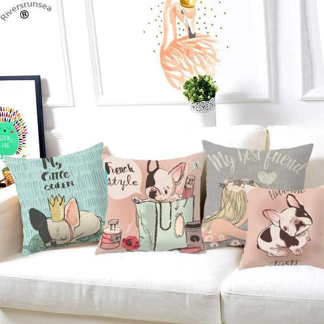 Estilo francés pequeño Bulldog cojín Animal lindo Puggy cachorros Pug perro decoración niñas niños ropa de cama almohada para regalo de niños