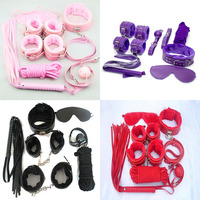 7 Pieces Adult Game Leather Sex Collar Handcuff Ball Gag Queen Constume PU Leather Whip Sex Flirt Toy for Couples