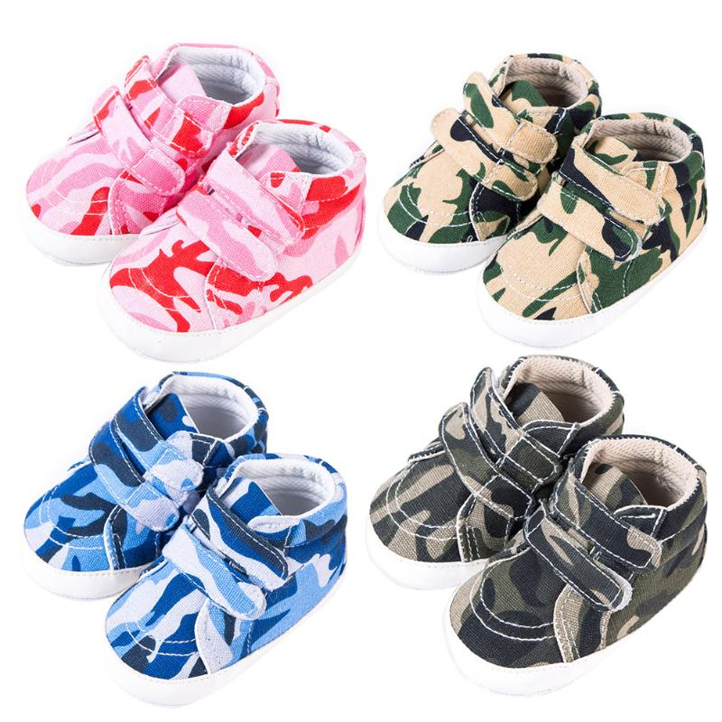 Autumn Baby Boys Girls Non Slip Shoes Fashion Kids Sneakers Toddlers Canvas Crib Camouflage Shoes Newborn First Walkers for 0-1Y