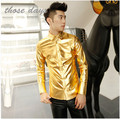 Mens Gold Shirt Stage Costumes For Signers Men Camisa Masculina Silver Gold Men Faux Leather Paillette Luxury Club Men Shirt
