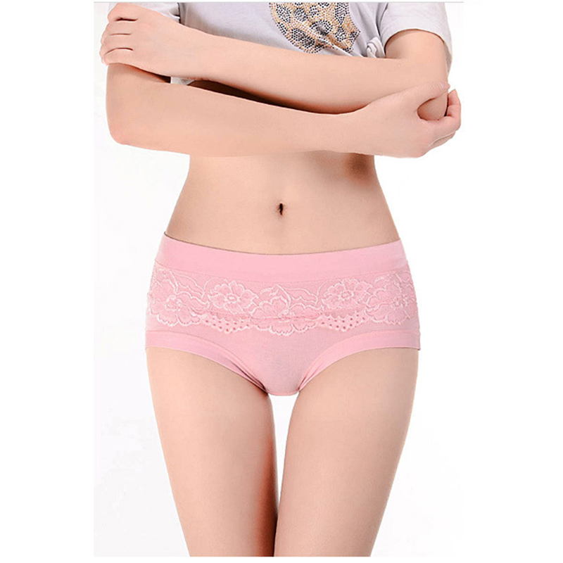 Lace Embroidery Elastic Stretch Girl Panties Bamboo Fiber Plus Size Sexy Breathable Traceless Carry Buttock Ladies Underwear C