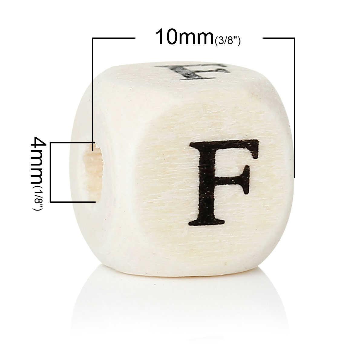 """DoreenBeads ウッドスペーサービーズキューブナチュラル文字パターン約 10 ミリメートル (3/8 """") × 10 ミリメートル (3/8 """") 、穴: 約 4 ミリメートル、 30 ピース"""