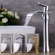 Basin faucet brass material black bathroom 5 colors torneiras para pia de banheiro Wash Gold waterfall