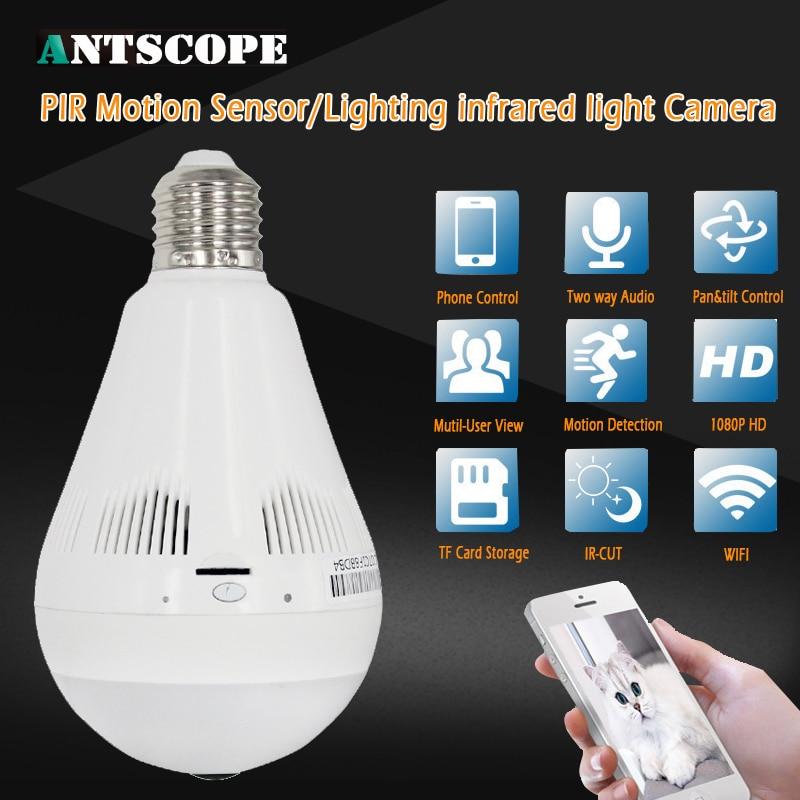1080P HD Lighting Infrared Bulb Wireless IP Camera Wi-FI FishEye 360 Degree Panoramic Mini Lamp Wifi Camera IR Home Security Cam