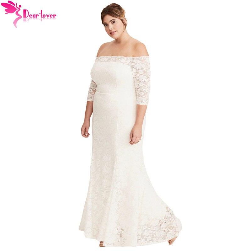 Dear Lover plus size dress for women 4xl 5xl White Plus Size Lace Off Shoulder Party Maxi Dress Vestido de Festa Longo LC610302