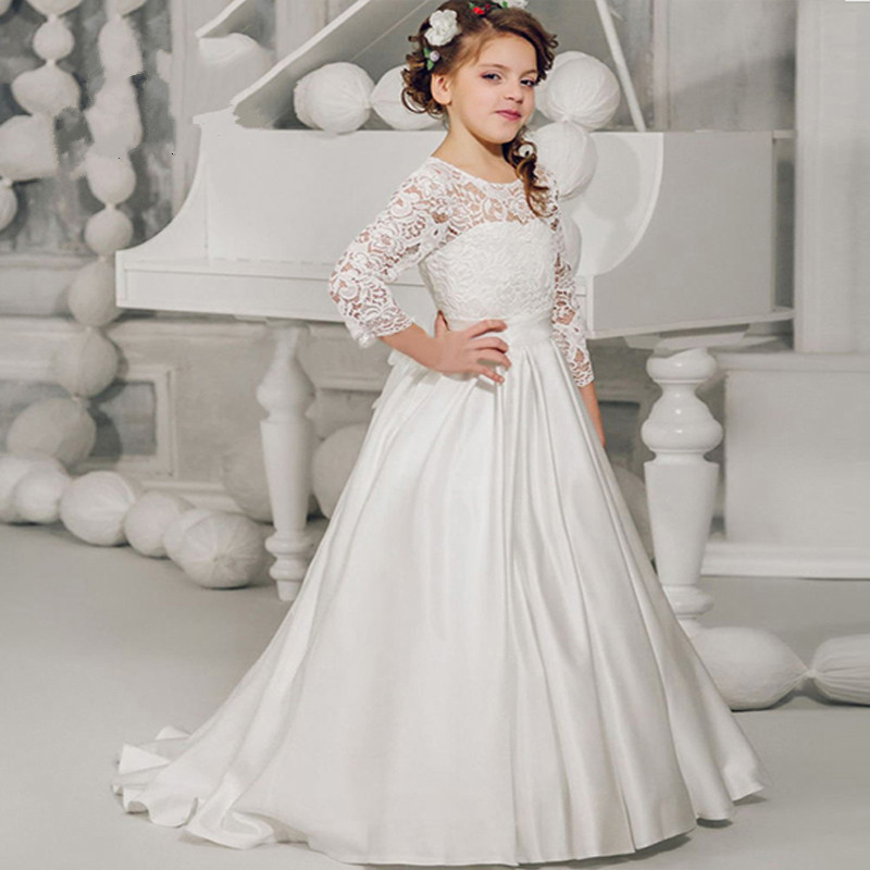 White Lace Flower Girl Dress for Wedding 2017 Ball Gown Sheer Neck Long Sleeves with Bow Girls Birthday Gown white slit design round neck long sleeves crop top