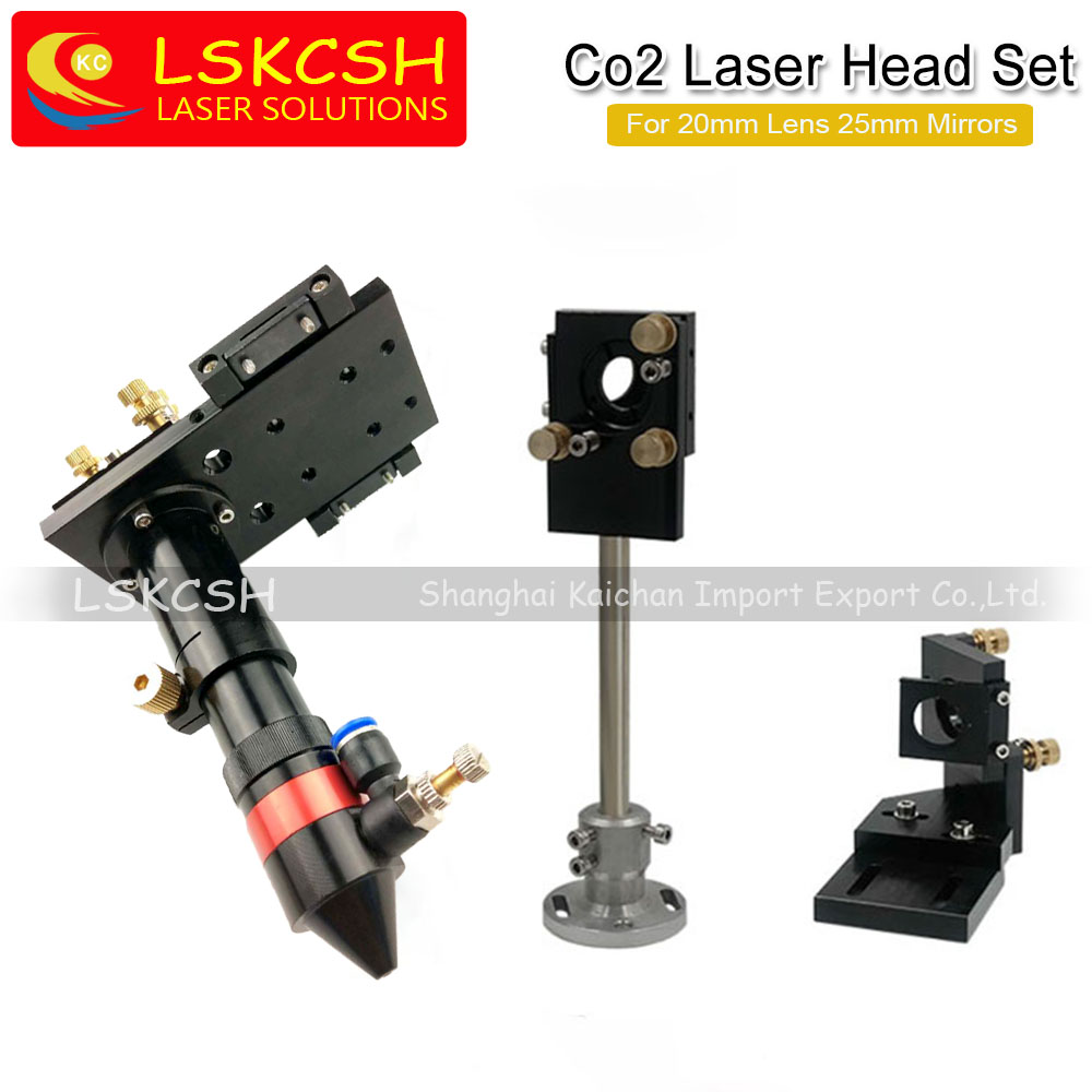 LSKCSH CO2 Laser Head & Reflective Mirror Integrative Mounts Set for Laser Engraving and Cutting 20mm Lens 25mm mirrors 3pcs lot high quality si coated gold reflective mirror reflector co2 laser cutting engraving dia 25mm free shipping