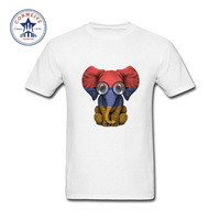 2017 New Summer Funny Tee Baby Elephant With Glasses And Armenian Flag Cotton T Shirt For