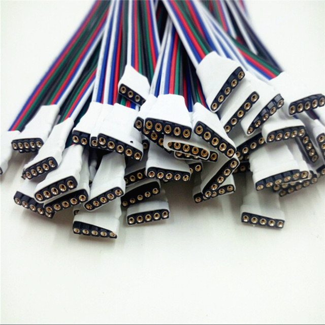 5 Pcs 4 pin/5 Pin LED Cable Male Female Connector Adapter Wire For 5050 3528 SMD RGB RGBW led strip light RGB RGBW LED Controll