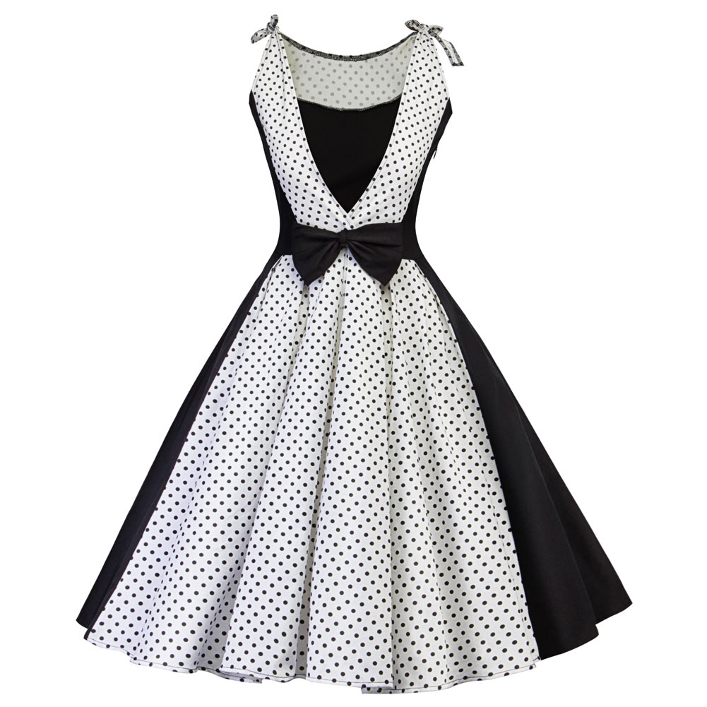 Women Sexy Retro Sleevesless Dress A-line Pleated Bowknot Summer Evening Party Dresses H9