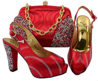 2018 Fashion Italian Shoes With Matching Bags For Party, High Quality Shoes And Handbags Set For Wedding Red color shoes M006